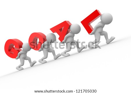 "3d people - men, person and word ""goal"". The concept of success - stock photo"