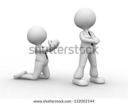 3d people - men, person angry. Reconciliation, please - stock photo