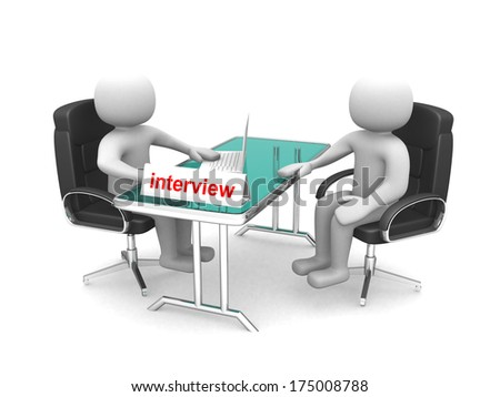 3d people - men, person - application or interview - talking together - stock photo