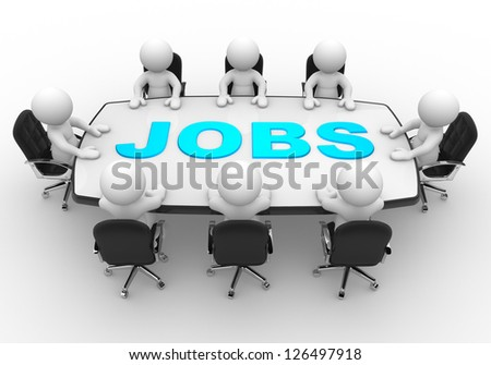 3d people - men, person at a conference table. Jobs - stock photo