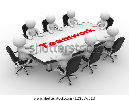 3d people - men, person at a conference table. Teamwork. - stock photo
