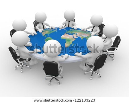 3d people - men , person at a conference table with world map. Peace. Elements of this image furnished by NASA.