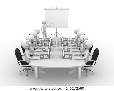 3d people - men, person at conference table and a flipchart . - stock photo