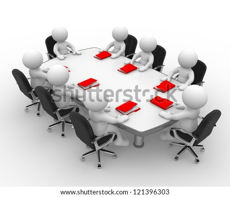 3 D People Men Person Conference Table Stock Illustration