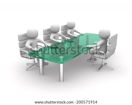 3d people - men, person at conference table. 3d render - stock photo