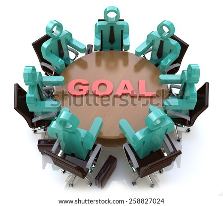 3d people - men, person at conference table. Goal - stock photo