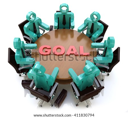 3d people - men, person at conference table. Goal in the design of information related to success in business.3D illustration - stock photo