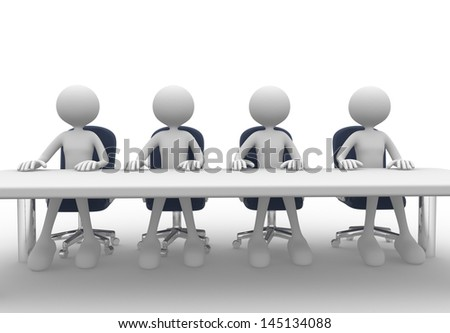 3d people - men, person at conference table. Meeting.