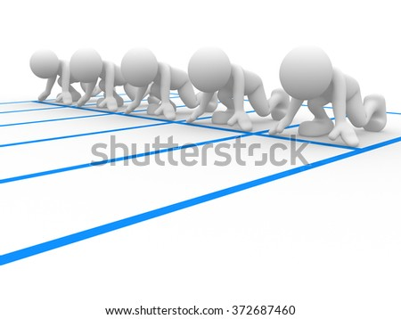 3d people - men person at  starting line. Athlete - sports.  - stock photo