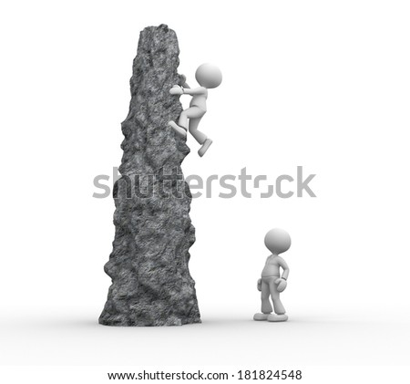 3d people - men, person climbing a cliff  - stock photo
