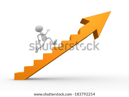 3d people - men, person climbing stairs with arrow.  - stock photo