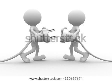 3d people -  men, person connecting a cable. Electric plug - stock photo