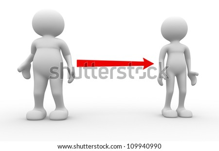 3d people - men, person. Fat and weak. Concept of diet - stock photo