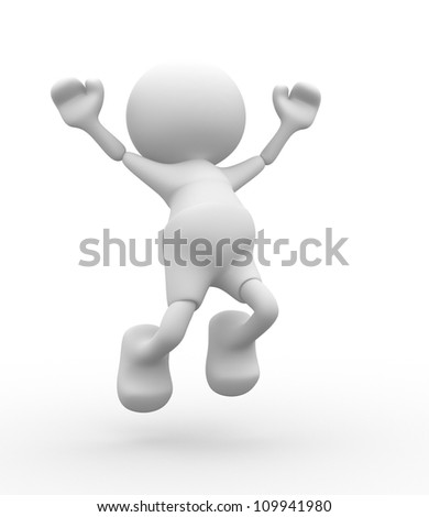 3d people - men, person happy. Caricature - stock photo