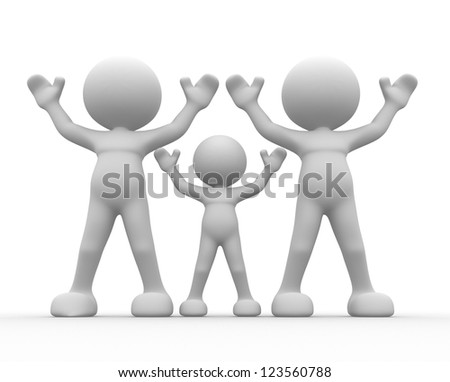 3d people - men, person happy. Parents with children. Concept of family. - stock photo
