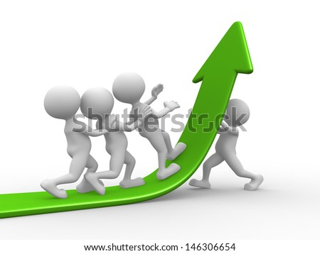3d people - men, person helps another to climb up on the green arrow - stock photo