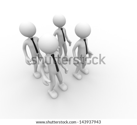 3d people - men, person in group. Team