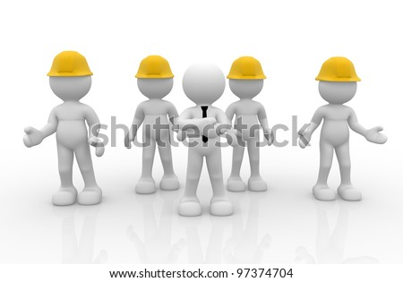 3d people - men, person in group with helmet( businessman and workers ). Leadership and team.