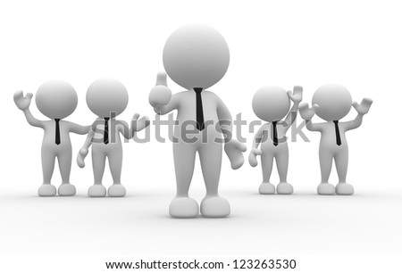 3d people - men, person in team. Leadership and team - stock photo