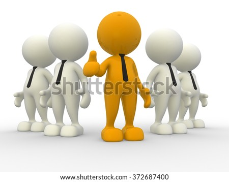 3d people - men, person in team. Leadeship and team  - stock photo