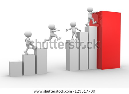 3d people - men, person jumping over graphic chart - stock photo
