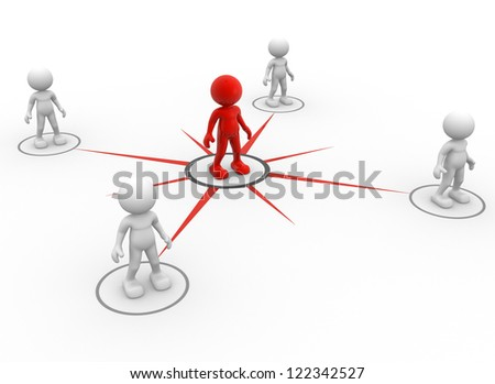 3d people - men, person network social. Concept of connection - teamwork and leadership