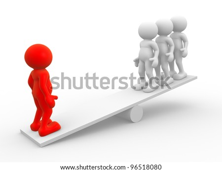 3d people - men, person  on a seesaw. Leader and teamwork. - stock photo