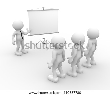3d people - men, person presenting at a flip-chart. Leadership and team.