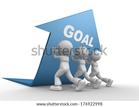 3d people - men, person pushing blue arrow. Concept of goal