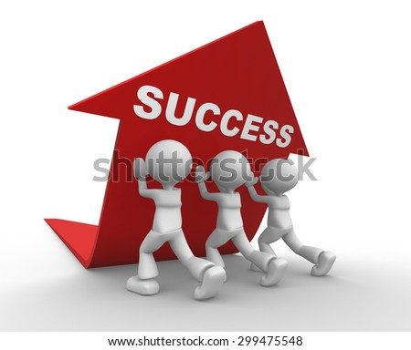 3d people - men, person pushing red arrow. Concept of success - stock photo