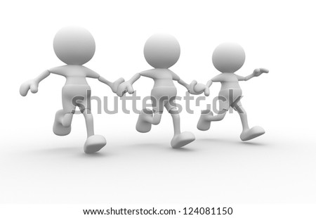 3d people - men, person running together. Friends - stock photo