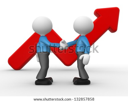 3d people - men, person shake hands with a growing graph. Deal - stock photo