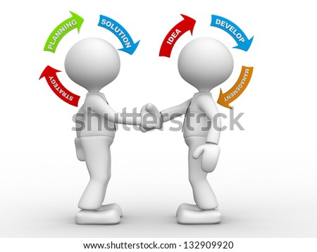 3d people - men, person shaking hands and arrows. Partnership. Concept of strategy - stock photo