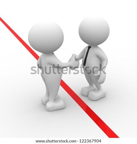 3d people - men, person shaking hands. The concept of business partners