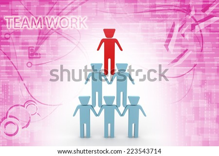 3d people - men, person sit in pyramid. Businessman  - stock photo