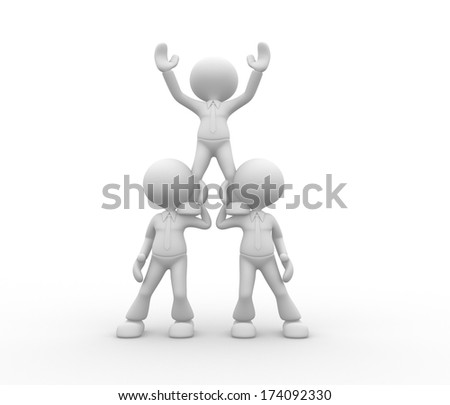 3d people - men, person sit in the pyramid - stock photo
