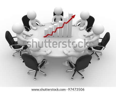 3d people - men, person sitting at a round table and financial chart - diagram - stock photo