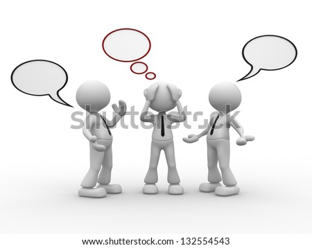 3d people - men, person talking with one worried and blank bubbles