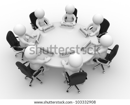 3d people - men, person to conference table. Meeting - stock photo