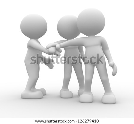 3d people - men, person together. Business team joining hands concept - stock photo