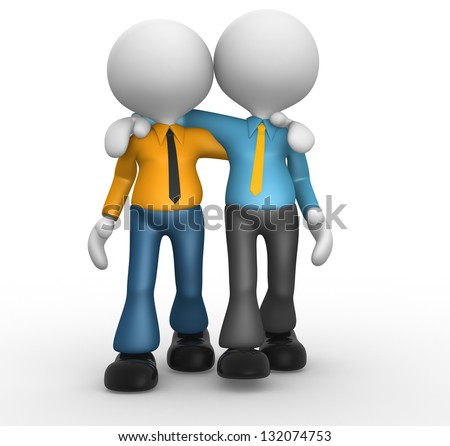 3d people - men, person together. Friends