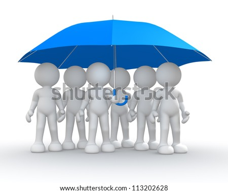 3d people - men, person under an umbrella. - stock photo