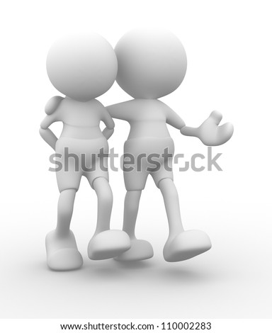 3d people - men, person walking with to hands behind and a friend. Concept of friendship