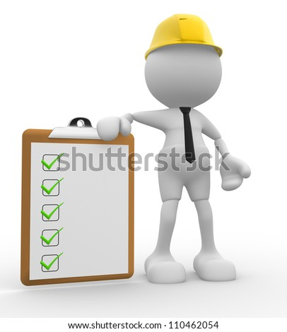 3d people - men , person with a clipboard. Engineer - stock photo