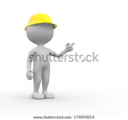 3d people - men, person with a hardhat.  Builder - stock photo