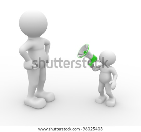 3d people - men, person with a megaphone - stock photo