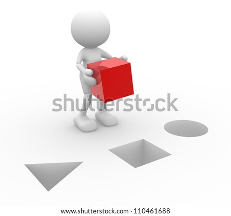 3d people - men, person with a red cube. - stock photo