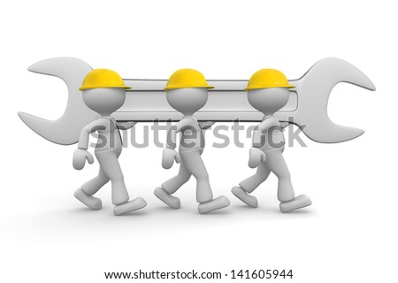 3d people - men, person with a wrench. Businessman and builder. Teamwork