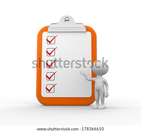3d people - men, person with big clipboard and checklist - stock photo