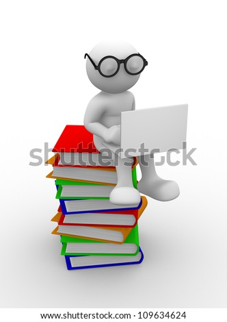 3d people - men , person with books and a laptop. Education concept - stock photo